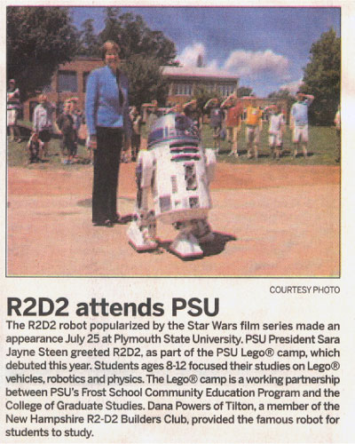 R2-D2 Lego Camp Newspaper Article